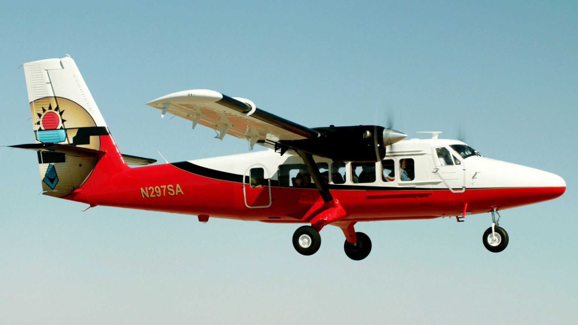 DeHavilland Vistaliner Twin Otter airplane in flight