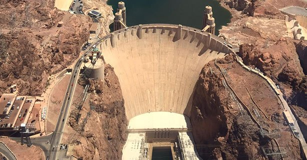 An aerial view of the Hoover Dam.