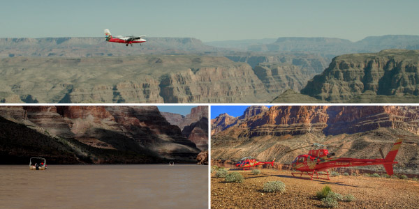 A 3-paneled image of a boat, a helicopter, and a small airplane. Flight departing our Boulder City terminal